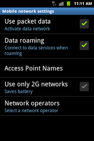 Data roaming is now on.Touch Data roaming again to turn it off.