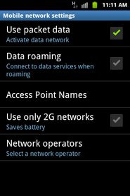 Touch Data roaming.