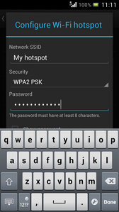 Delete the existing text and enter a password for your hotspot.