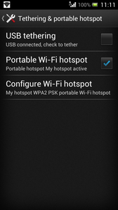 The portable Wi-Fi hotspot is now active. Other devices can connect to it using your network name (step 7) and password (step 9).