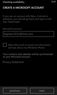 The phone will check the availability of the chosen Microsoft account ID.
