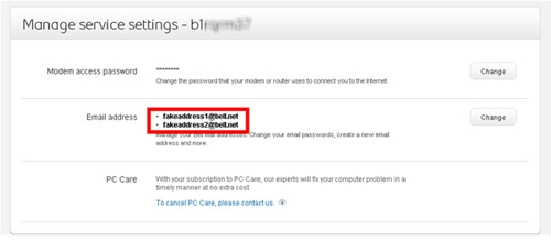 how to change email password on bell