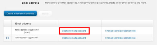 Change email password